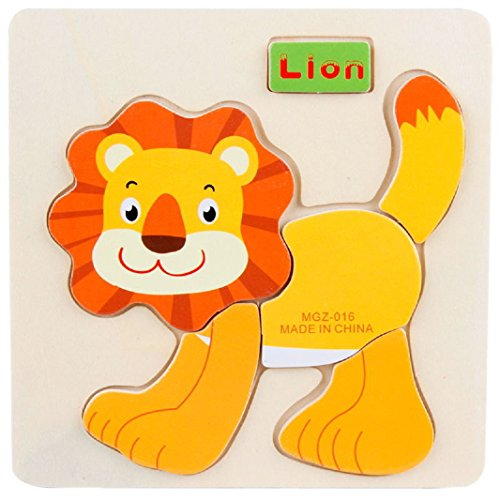 Preisvergleich Produktbild Axibi Niedlich Karikatur Löwe Pädagogische Holz Puzzle Spielzeug für 1-6 Jahre alte Kinder