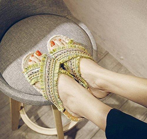 Pattini piani di personalità dei sandali casuali di estate 2017 di Sandali aperti del piede Scarpe piane della Boemia di Flusso dell'erba per le donne Yellow