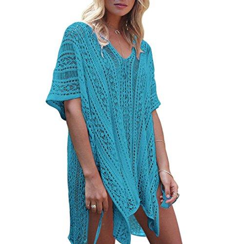 OverDose Frauen Baden Beach Cover Up Kleid Bikini Badeanzug Bademode Crochet Smock(Blue,Freie Größe) (Frauen Badeanzug Cover Up Kleid)
