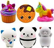 Korilave 6Pcs Jumbo Squishies Toy Pack - Unicorn Cake,Kawaii Waffles,Unicorn Horse,Spoon Cat,Panda Egg,Sleepin