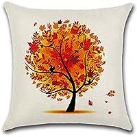 Decorativa almohada multicolor algodón y mariposa plumas de pavo real impresión Impreso Sofá Decoración Cojín Caso agarre Bar Funda de almohada cojín de móvil Salón naranja