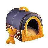 YOUJIA Hunde-Höhle Weicher Warm Haustier Nest Hund Katze Bett Tierbett Haustiertragetasche (Blau Dots,S)