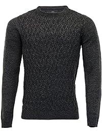hommes texturé Pull tricot Threadbare PULL PULL-OVER ras de cou décontracté hiver