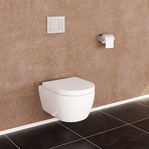 NEG Hänge-WC Uno11RK (Tiefspüler/randlos/kurz) Toilette ohne Unterspülrand mit Duroplast Soft-Close-Deckel und Nano-Beschichtung - 4