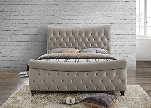 Happy Beds Copenhagen Scroll Sleigh Bed Warm Stone Fabric Frame Only 5' King Size 150 x 200 cm