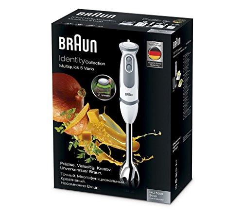 Braun Minipimer 5 MQ5000 Soup - Batidora de mano, 750 w potencia, 21 velocidades, campana acero inoxidable, incluye vaso medidor 600 ml, blanco y gris