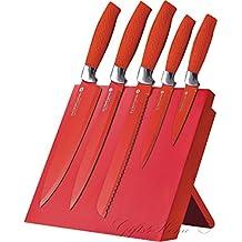 Waltmann und Sohn profesional con recubrimiento antiadherente 6piezas Juego de cuchillos con soporte magnético plegable en color rojo Producto nuevo en caja de regalo