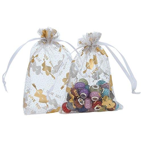 La Vogue 50PCS 9*12CM Motif Amour Sachets Sacs Pochettes Organza Blanc Cordon Coulissant de Serrage Bijoux Cadeaux Bonbon Mariage Fête Cotillons Boutiques Vente Blanc