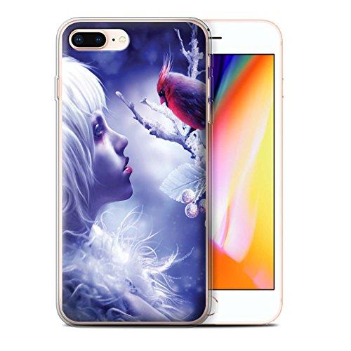 Officiel Elena Dudina Coque / Etui Gel TPU pour Apple iPhone 8 Plus / Colibries/Des Roses Design / Les Oiseaux Collection Glacé/Regard/Fleur Neige