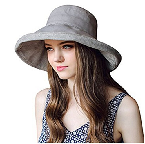 Damen Sommer Strand Hut Sonnenhut Roll up Schlapphut Bucket Hat Faltbarer Eimer Hut großer Rand Anti-UV (Hut Grau Eimer)
