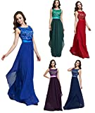 LemonGirl Women's Pleated Round neck Halter Bridesmaid Long Dress Vest Evening Dresses
