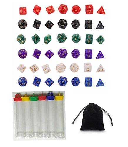 Preisvergleich Produktbild 6 x 7 42 Stück Polyhedral Dice Würfel Farbige Würfel in 6 Farben mit Packung mit 6 Kunststoffrohr Dungeons und Dragons