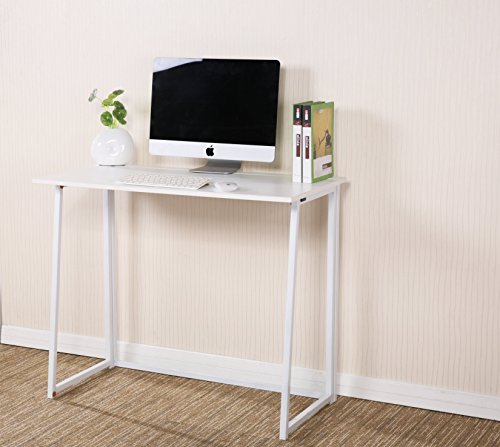 CherryTree Furniture Compact Flip-Flop Folding Computer Desk Home Office Laptop Desktop Table (White)