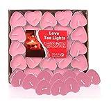 Ailiebhaus 50er Teelichter Set Romantische Hochzeit Herz Kerzen (Rosa)
