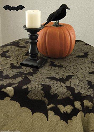 Fledermaus Tischdecke rund 1,11 Meter riesig im Netzdesign 100% Polyester inklusive Latex Fledermaus 15 cm zum Aufhängen (Halloween Tischdecke)