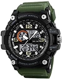 Skmei Analogue-Digital Military Green Strap Men's & Boy's Watch - 1283