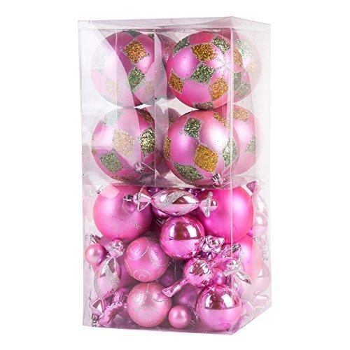 64 pièces Deluxe Boules de Noël assorties Lot (Rose)