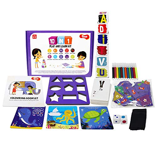Toiing 10-in-1 Play and Learn Kit - 10 Educational Games & Activities for 3-4 Year Old Kids