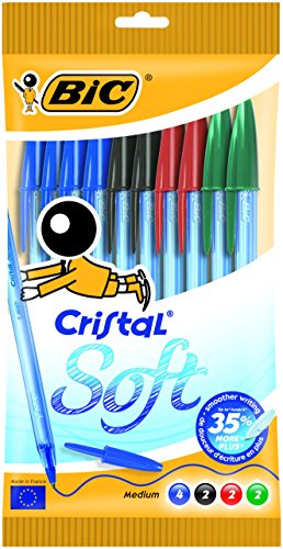 bic-cristal-soft-stylo-bille-non-retractable-couleurs-assortis-pochette-de-10