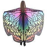 Scialle per Donna e ragazza con ali di farfalla,YanHoo Donna Farfalla Ali Scialle Sciarpe Ladies Nymph Pixie Poncho Accessorio Costume per Butterfly wings shawl with bracelet (168*135CM, Multicolor A)