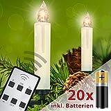 Homelux 20 LED Weihnachtskerzen Christbaumbeleuchtung Warmweiß Fernbedienung Kabellos mit Batterien - 10/20/30/40er Set - DEUTSCHER HÄNDLER