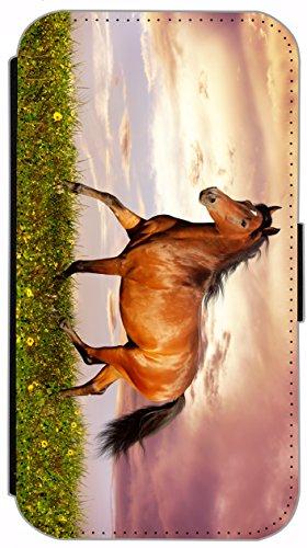 Kuna Flip Cover für Apple iPhone 5 / 5s Design K484 Pferd Hengst Schwarz Hülle aus Kunst-Leder Handy Tasche Etui mit Kreditkartenfächern Schutzhülle Case Wallet Buchflip Rückseite Schwarz Vorderseite  K485
