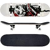 FunTomia® Skateboard FunTomia con rodamientos ABEC-11 y rodillos de dureza 100A - hecho con 7 capas de madera 100% arce canadiense (blanco - calavera)