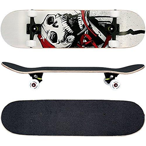 FunTomia® Skateboard mit ABEC-11 Kugellager Rollenhärte 100A und 100{ce345fb42a0162ab277ea74c0bfacb03ec3dfacd0706220ca8fa75f7d7395283} 7-lagigem kanadisches Ahornholz