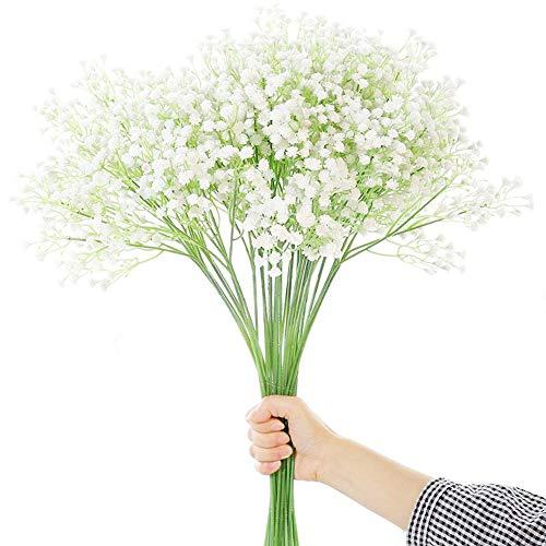 Flores Gypsophila artificiales para decoración de boda o del hogar, de JUSTOYOU, tela, Blanco, 12 unidades