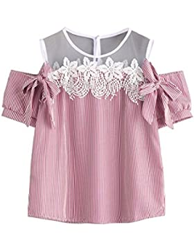 Mujer Camiseta de manga corta,SMARTLADY Casual Encaje Blusa Rayada Camisa Tops T-Shirt para Estudiante Muchacha