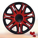 Radkappen 14 Zoll NASCAR (Schwarz/Rot) & 4 Ventilkappen gratis, passend für fast alle Fahrzeuge