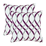 Pack of 2 CaliTime Throw Pillow Covers, Modern Two-tone Waves Geometric, 45cm X 45cm, Gray Deep Purple