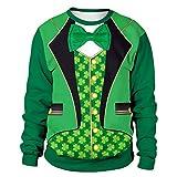 Epig Herren St. Patrick's Pullover, Männer Frau Mode Druck St. Patrick's Day Grün Klee Sweatshirt Party Fancy Dress Tops