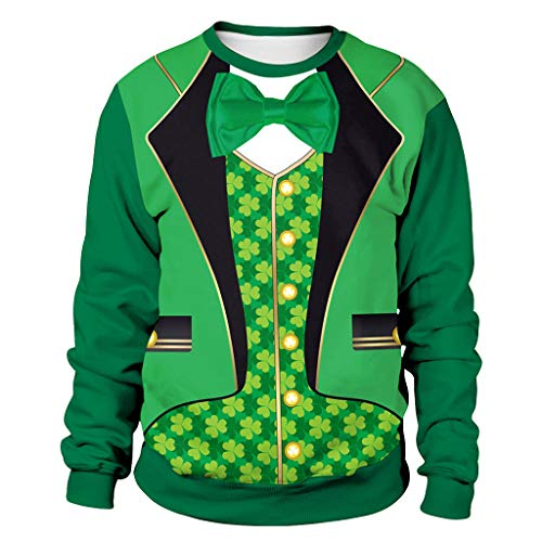 Epig Herren St. Patrick's Pullover, Männer Frau Mode Druck St. Patrick's Day Grün Klee Sweatshirt Party Fancy Dress Tops - Klee Gelbes T-shirt