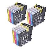 12 Alta Capacità fratello LC1100 LC980 LC 1100 LC 980 Cartucce di inchiostro compatibili per Brother MFC-250C MFC-255CW MFC-290C MFC-295CN MFC-297C MFC-490CN MFC-5490CN MFC-5890CN MFC-790CW MFC-795CW MFC-6490CW MFC-6890CDW MFC-990CW DCP-145C DCP-163C DCP-165C DCP-167C DCP-185C DCP-195C DCP-365CN DCP-373CW DCP-375CW DCP-377CW DCP-383C DCP-385C DCP-387c DCP-395CN DCP-585CW DCP -6690CW DCP-J715W. (3x nero, 3x ciano, 3x magenta, 3x giallo)