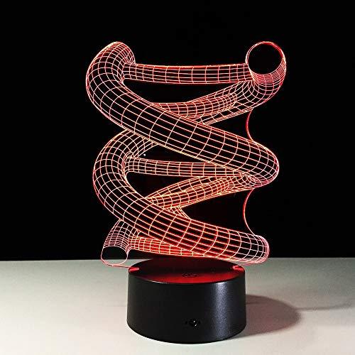 LED Nachtlicht Dna-Gen 3D Illusion Stimmungslicht Fernbedienung Nachttischlampe 7 Farben ändern Touch Switch Schreibtisch Lampen Geburtstagsgeschenk -