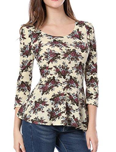 Allegra K Sourcingmap Damen Rundausschnitt 3/4 Ärmeln Blumen Muster Peplum Top Shirt Bluse (Puff 3/4 Top Ärmel)