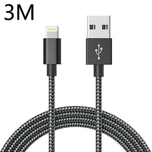 Lightning Cable,ONSON 10ft/3m Extra Long Nylon Braided Apple iPhone Charger Cable Charging Cable USB Cord for iPhone 7/7 Plus/6S/6S Plus/6/6 Plus/5/5S/5C/SE,iPad Air/mini,iPod Nano 7(Black) image