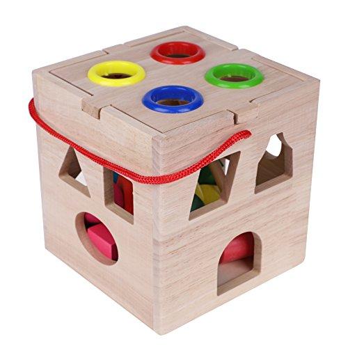 FTVOGUE Forma ordinamento cubo Classico Giocattolo di Legno Scatola di smistamento con Martello di Legno Giocattolo in Legno Forma Piccola casa per i Bambini più Piccoli