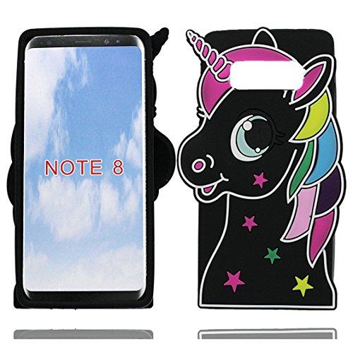 Galleria fotografica Samsung Galaxy Note 8 Custodia, 3D Cute Cartoon Morbido gel di gomma siliconica Case protettive in TPU per ragazze antiurto Copertura per Samsung Galaxy Note 8 (unicorno unicorn Nero)