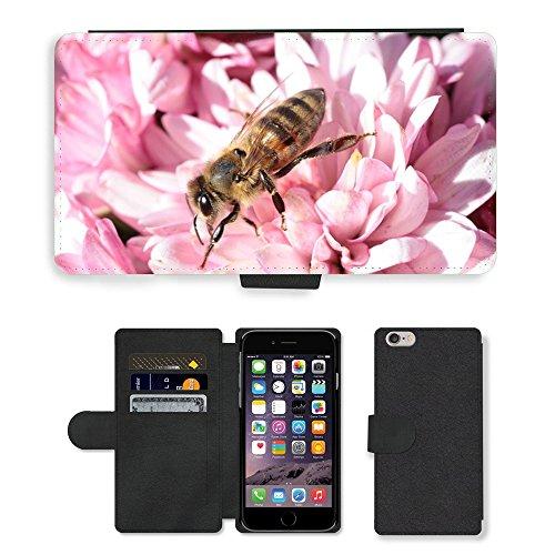 Just Mobile pour Hot Style Téléphone portable étui portefeuille en cuir PU avec fente pour carte//m00139310Bee Macro insectes Fleurs/Plantes/Apple iPhone 6Plus 14cm