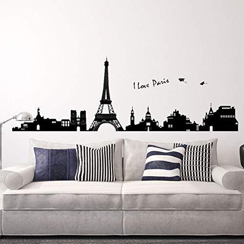 MEIWALL Plat Paris Eiffel Eiffel étanche Stickers muraux amovibles pour enfants chambre d'enfant chambre salon cuisine enfants chambre mur art décor autocollant