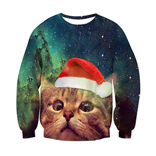 Bfustyle Lustige hässliche Weihnachtskatze Meow Sankt-Hut-runde Ansatz-Strickjacke-Pullover-Kleidung