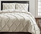 VCNY Home Carmen 3 Piece Microfiber Duvet Cover Set, ULTRA SOFT Duvet Cover, Wrinkle Resistant Bed Set, King, Taupe