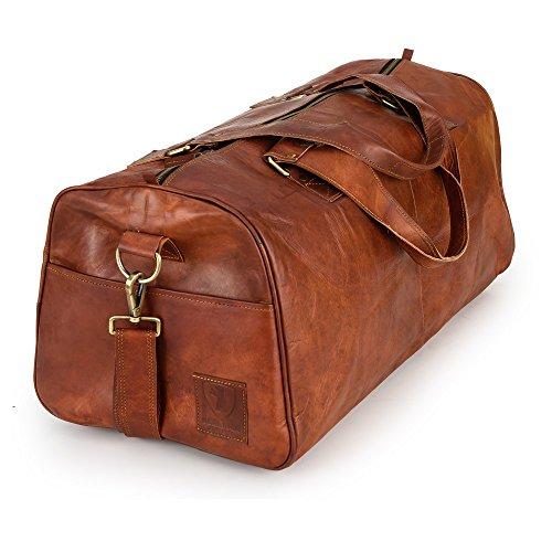 Weekender Berliner Bags Oslo XL Reisetasche aus Leder Handgepäck Qualität Vintage Design Damen Herren Braun Groß 60 cm 45 liter (Leder-weekender-tasche)