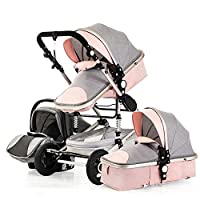 Bfg Boots 3-in-1 Stroller Multi-Function Two-Way High Landscape Sitting and Lying Folding Portable Shockproof Travel Baby Carriage Set Lightweight Travel System,Pink