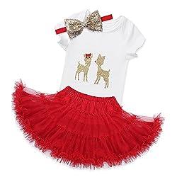 iEFiEL Baby Mädchen Kleidung Set Weihnachten Outfits Strampler mit Röckchen und Stirnband Weihnachtskostüm - Mein erstes Weihnachten (62, glänzender Hirsch)