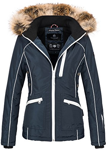 Navahoo Damen Winter Jacke Outdoor Winterjacke warm gefüttert Parka B649 [B649-Snow-Navy-Gr.S]