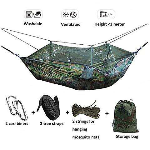 Hamac Portable Camping Haute Résistance avec Moustiquaire en Tissu pour Camping Jardin Voyage Tactique (Camouflage)
