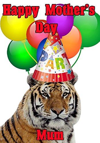 Tiger Happy Mother 's Day Party Hat Karte chmd212personalisierbar Grüße